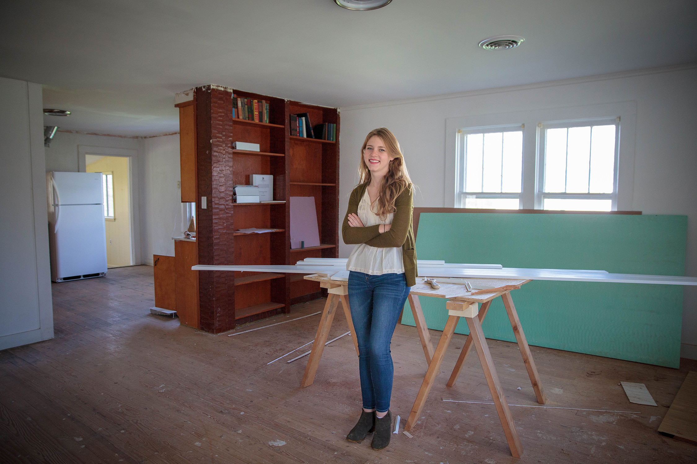 Emmie Chambers in the building she's helping transform into a new wing of the Beersheba Springs Medical Clinic. Photo by Buck Butler