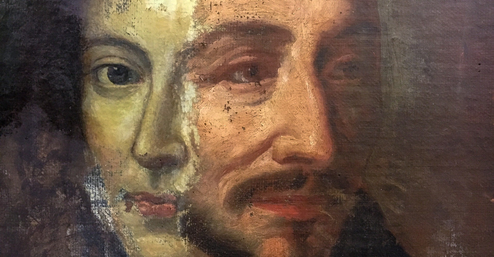 This detail shows the canvas partway through conservation with the newer painting (left) partially removed to reveal the older painting beneath.