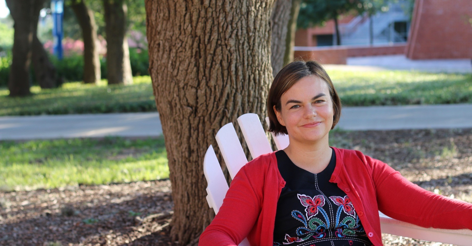 Kelly Grey Carlisle on the campus of Trinity University, where she teaches English and writing. Photo by Will Bostwick
