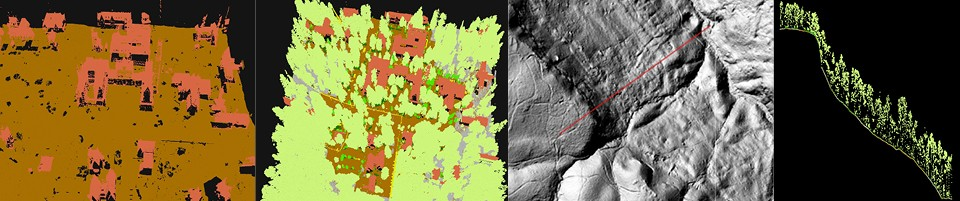 """Just a few interpretations of the LiDAR data (left to right): A three-dimensional """"point cloud"""" image of central campus with vegetation not represented; another image of central campus showing vegetation (green), buildings (reddish-brown) and ground (gray and darker brown); a line on a hillshade image of Shakerag Hollow shows where the following cross-section was taken from; and a cross-section down the slope of Shakerag Hollow."""