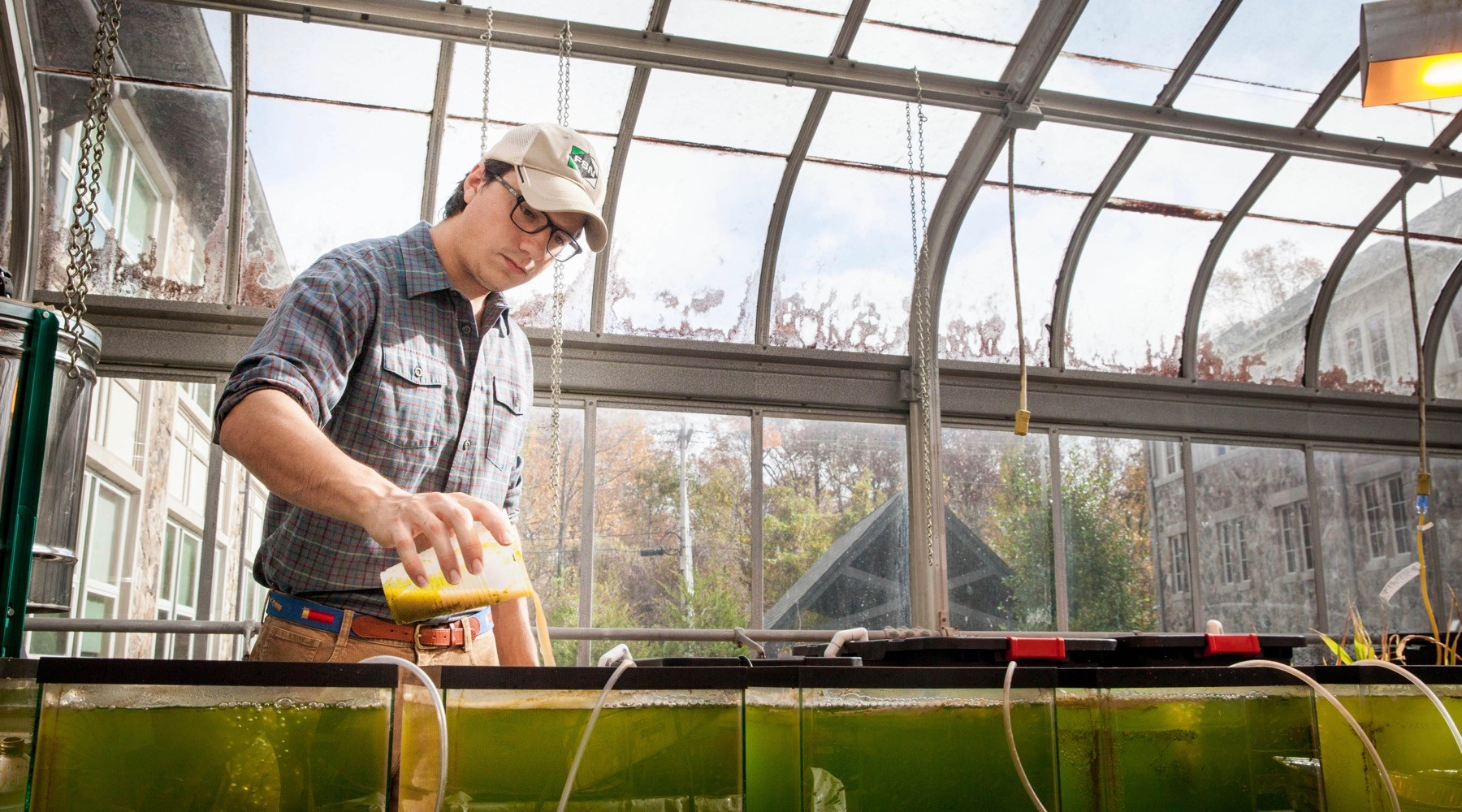 Luke Stallings, C'18, tends tanks of freshwater clams that could help make the University Farm's aquaponics system work in Sewanee's temperate climate. Photo by Buck Butler