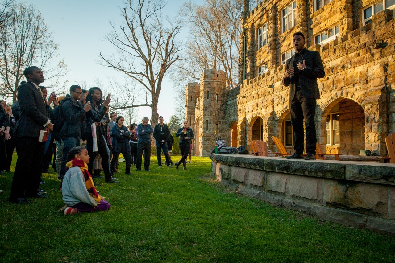 """We are not immune from the world around us on our idyllic campus,"" said Kirk Murphy, C'17, addressing a crowd gathered in the Quad to discuss issues of race and social justice."