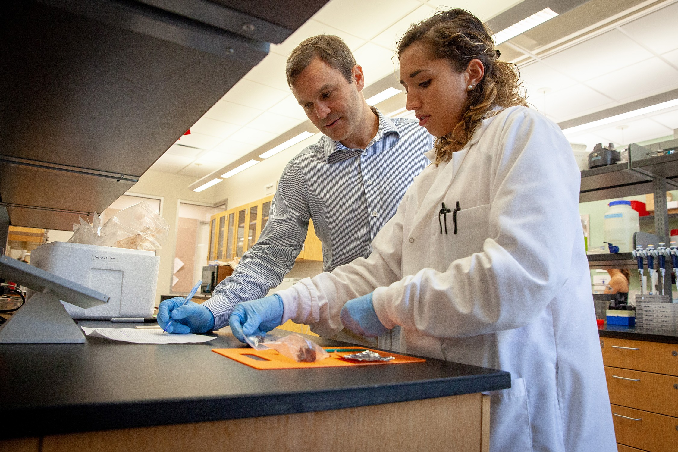 Russell Fielding and Hannah-Marie Garcia, C'19, prepare whale tissue samples for testing. Photo by Buck Butler