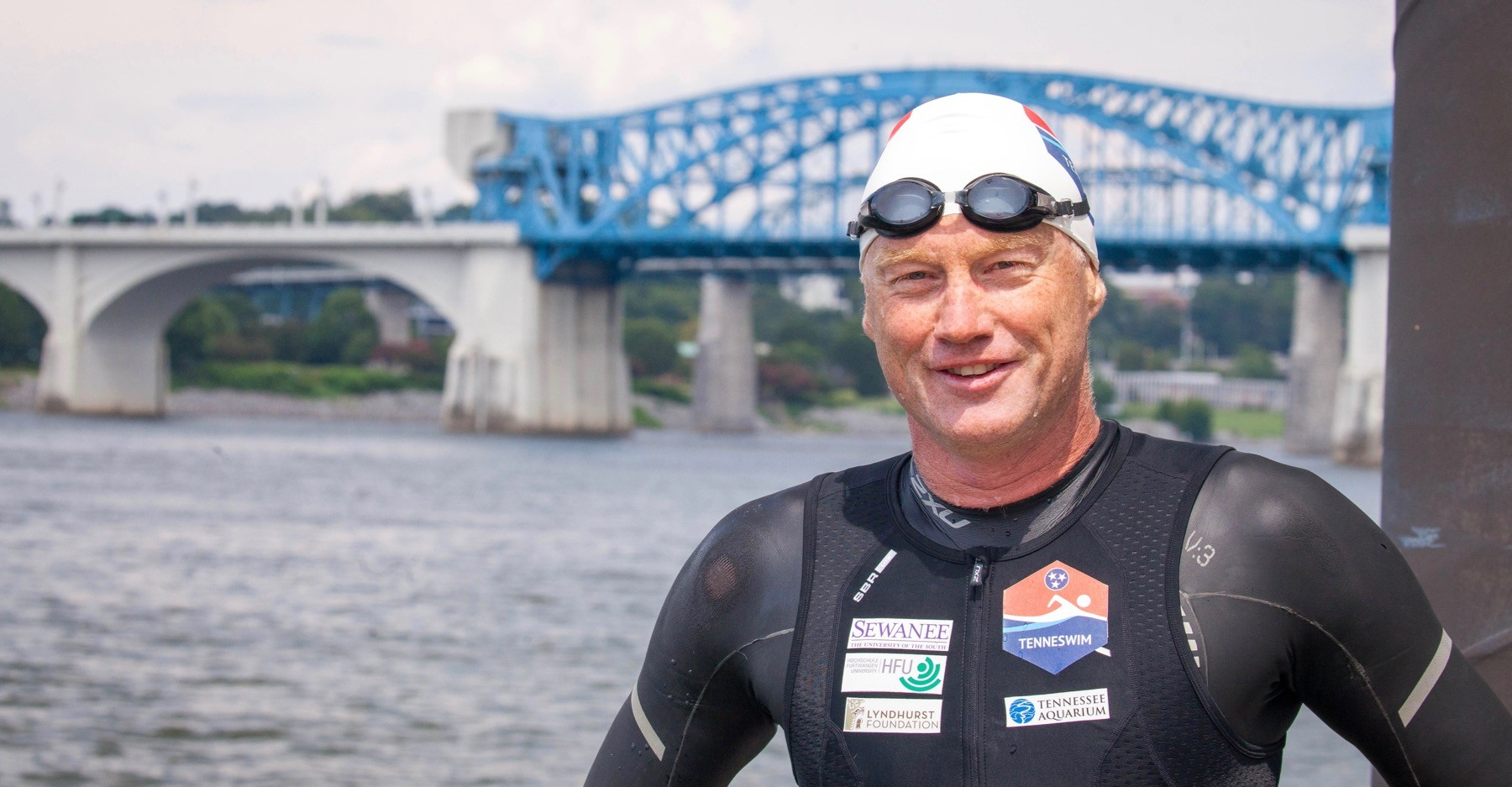 Andreas Fath, photographed just after swimming into Chattanooga on Aug. 4. Photo by Buck Butler