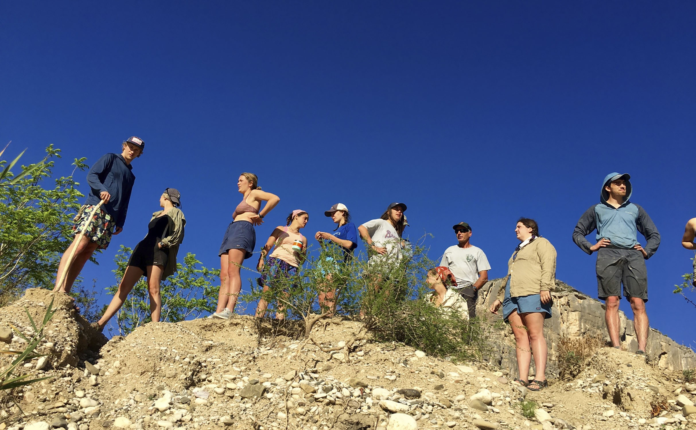 The Sewanee SOP group scouts San Francisco Rapids on the Rio Grande.