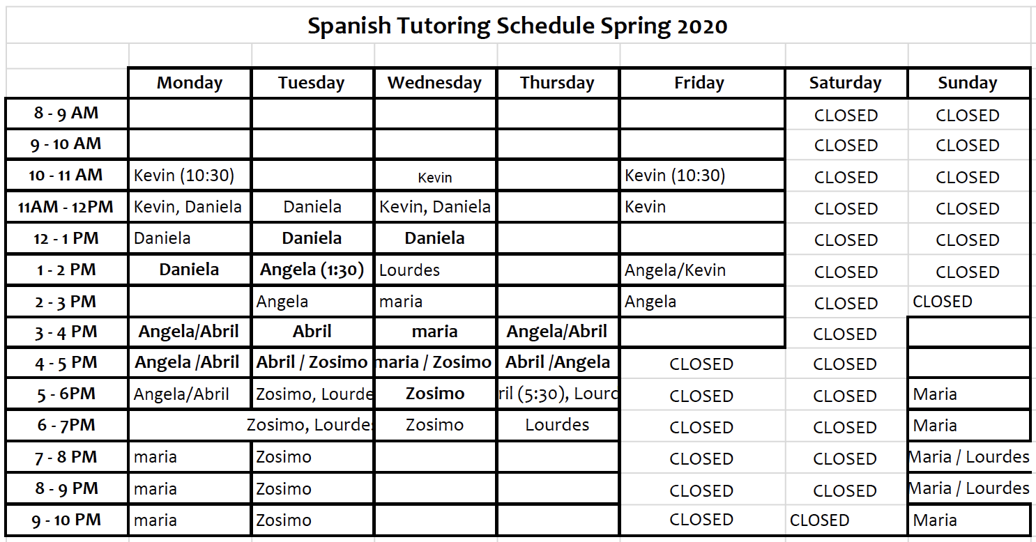 Spanish Tutoring Schedule Spring 2020