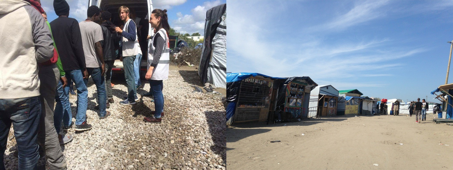 Left: Bret Windhauser helps manage a food distribution line in the Jungle. Right: The camp's thousands of residents live in tents and makeshift wooden shelters.