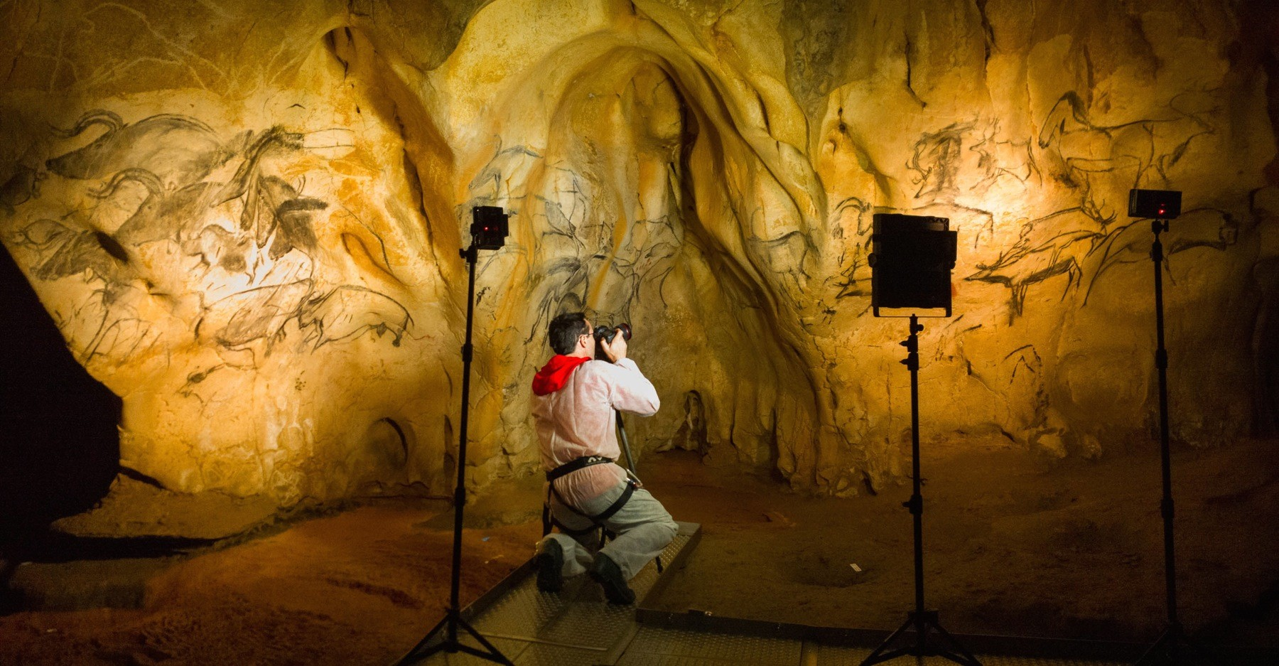 Stephen Alvarez photographs 36,000-year-old cave paintings in Chauvet-Pont-d'Arc, a cave in southern France. Photo by Stephen Alvarez